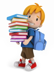 3D Render of Kid with Books