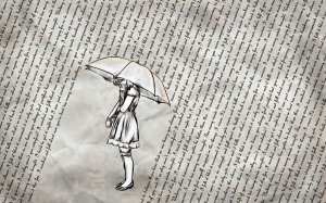 Girl with raining words